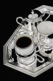 Zilveren koffiereeks Royalty-vrije Stock Foto's