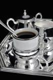 Zilveren koffiereeks Stock Foto's