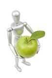 Zilveren ledenpop menselijk model met appel Royalty-vrije Stock Fotografie