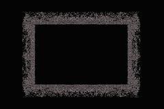 Zilveren leeg kader op een zwarte achtergrond Stock Fotografie