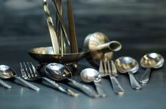 Zilveren lepelreeks Royalty-vrije Stock Afbeelding