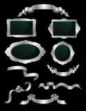 Zilveren linten en etiketten Stock Afbeelding