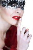 Zilveren masker en rode lippen Stock Fotografie