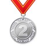 Zilveren medaille Stock Afbeeldingen