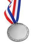 Zilveren medaille die op een witte achtergrond wordt geïsoleerd Royalty-vrije Stock Foto's