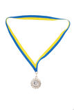 Zilveren medailles die op wit worden geïsoleerdr Stock Foto