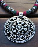 Zilveren Medaillonhalsband Royalty-vrije Stock Foto