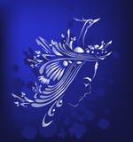 Zilveren meisje met vogelsilhouet vector illustratie