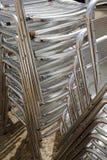 Zilveren metaalstoelen Stock Afbeelding