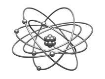 Zilveren model van het atoom met centrale pit Stock Fotografie