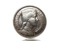 Zilveren muntstuk 1929 jaar Stock Afbeeldingen