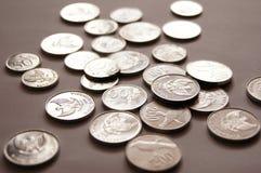 Zilveren muntstuk Stock Foto's