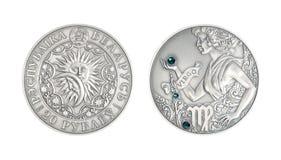 Zilveren muntstuk Astrologisch teken Vigro royalty-vrije stock fotografie