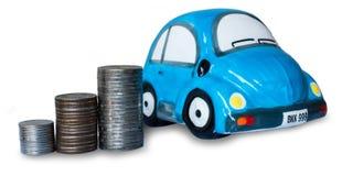 Zilveren muntstuk en autospaarvarken Royalty-vrije Stock Foto's
