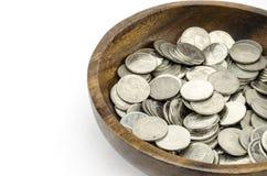 Zilveren muntstuk op wit Royalty-vrije Stock Afbeelding
