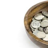 Zilveren muntstuk op wit Royalty-vrije Stock Fotografie