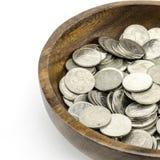 Zilveren muntstuk op wit Stock Afbeeldingen