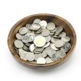 Zilveren muntstuk op wit Stock Afbeelding