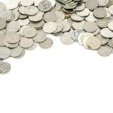 Zilveren muntstuk op wit Stock Foto's