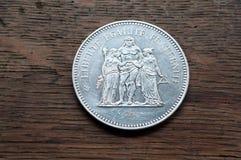 Zilveren muntstuk van 50 franken Stock Foto