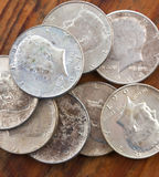 Zilveren Muntstukken Royalty-vrije Stock Afbeeldingen