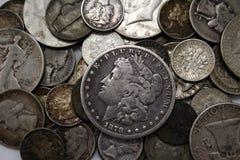 Zilveren Muntstukken Stock Afbeeldingen