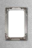 Zilveren omlijsting op grijze achtergrond met gevolgen Royalty-vrije Stock Foto's