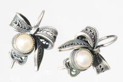 Zilveren oorringen Stock Afbeelding