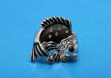 Zilveren oorringen in de vorm van vissen met zwarte Royalty-vrije Stock Fotografie