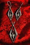 Zilveren oorringen en hangend met een draak Royalty-vrije Stock Afbeeldingen