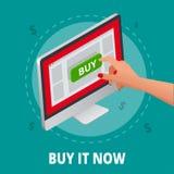 Zilveren open laptop met en het scherm kopen Concept het online winkelen Vlakke 3d Vector isometrische illustratie Stock Afbeelding