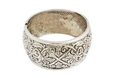 Zilveren oude uitstekende armband Stock Afbeeldingen