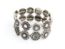 Zilveren oude uitstekende armband Stock Foto's
