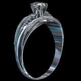 Zilveren overeenkomstenband met diamantgem Royalty-vrije Stock Afbeeldingen