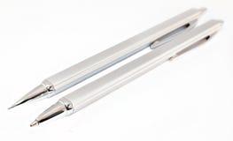 Zilveren pen en potloodreeks Royalty-vrije Stock Fotografie