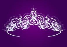 Zilveren prinsesdiadeem op een donkere achtergrond De parelkroon Vector illustratie royalty-vrije illustratie