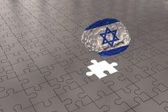 Zilveren Raadselvliegtuig voor Israel Flag aan Hersenen stock afbeelding