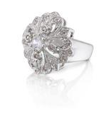 Zilveren ring met briljant stock fotografie