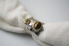 Zilveren ring met de steen van het tijgeroog Stock Foto