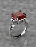 Zilveren ring met rode diamant Stock Foto's