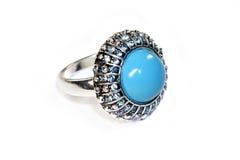 Zilveren ring met turkoois Stock Foto