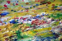 Zilveren rode gouden kleurrijke textuur van de olieverfschilderij de levendige wasachtige waterverf, vaag creatief ontwerp Royalty-vrije Stock Fotografie