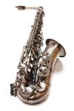 Zilveren saxofoon Stock Afbeelding