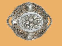 Zilveren schotel Royalty-vrije Stock Afbeeldingen