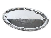 Zilveren schotel op witte backround Royalty-vrije Stock Foto's