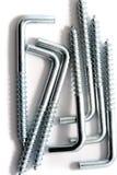 Zilveren schroeven in ruw Royalty-vrije Stock Foto