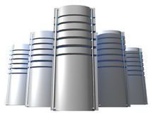 Zilveren servers Stock Afbeeldingen
