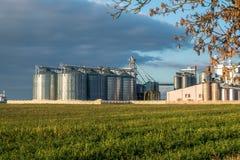 Zilveren silo's bij agro-verwerkt installatie voor verwerking en opslag van landbouwproducten, bloem, graangewassen en korrel royalty-vrije stock foto's