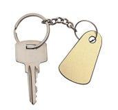 Zilveren sleutel met lege markering Stock Foto