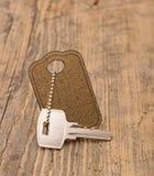 Zilveren sleutel met lege markering Royalty-vrije Stock Afbeelding